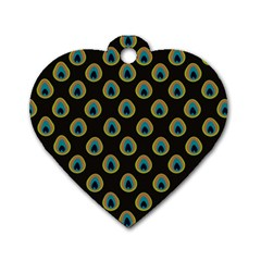 Peacock Inspired Background Dog Tag Heart (two Sides)