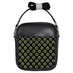 Peacock Inspired Background Girls Sling Bags