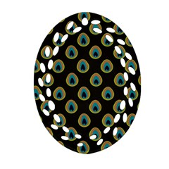 Peacock Inspired Background Ornament (oval Filigree)