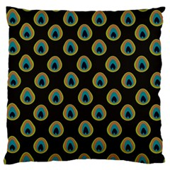 Peacock Inspired Background Large Cushion Case (One Side)