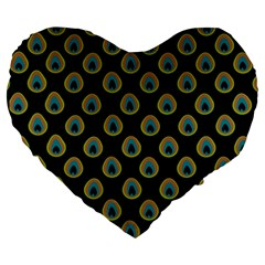 Peacock Inspired Background Large 19  Premium Heart Shape Cushions