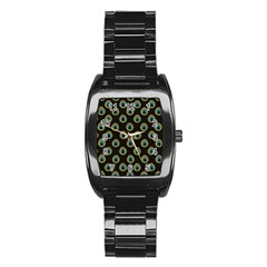 Peacock Inspired Background Stainless Steel Barrel Watch