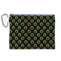 Peacock Inspired Background Canvas Cosmetic Bag (xl)