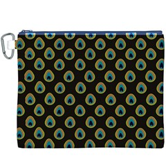 Peacock Inspired Background Canvas Cosmetic Bag (XXXL)