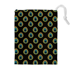 Peacock Inspired Background Drawstring Pouches (extra Large)