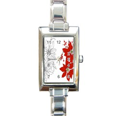 Poinsettia Flower Coloring Page Rectangle Italian Charm Watch