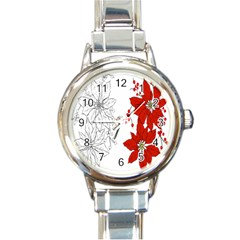 Poinsettia Flower Coloring Page Round Italian Charm Watch