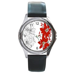 Poinsettia Flower Coloring Page Round Metal Watch
