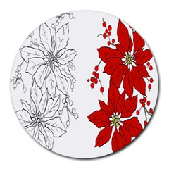 Poinsettia Flower Coloring Page Round Mousepads