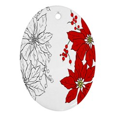 Poinsettia Flower Coloring Page Ornament (oval)