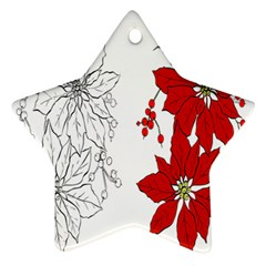 Poinsettia Flower Coloring Page Ornament (star)