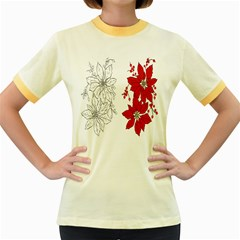 Poinsettia Flower Coloring Page Women s Fitted Ringer T Shirts