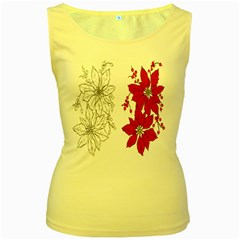Poinsettia Flower Coloring Page Women s Yellow Tank Top