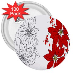 Poinsettia Flower Coloring Page 3  Buttons (100 Pack)