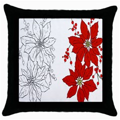 Poinsettia Flower Coloring Page Throw Pillow Case (black)