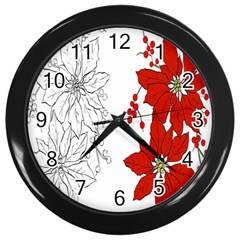 Poinsettia Flower Coloring Page Wall Clocks (Black)