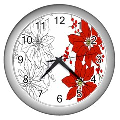 Poinsettia Flower Coloring Page Wall Clocks (Silver)