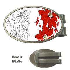Poinsettia Flower Coloring Page Money Clips (Oval)
