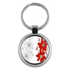 Poinsettia Flower Coloring Page Key Chains (Round)