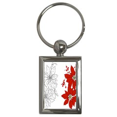 Poinsettia Flower Coloring Page Key Chains (Rectangle)