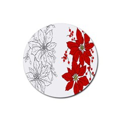 Poinsettia Flower Coloring Page Rubber Coaster (Round)