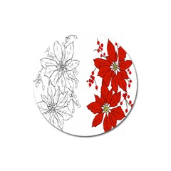 Poinsettia Flower Coloring Page Magnet 3  (Round)