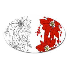 Poinsettia Flower Coloring Page Oval Magnet