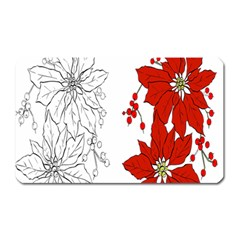 Poinsettia Flower Coloring Page Magnet (Rectangular)