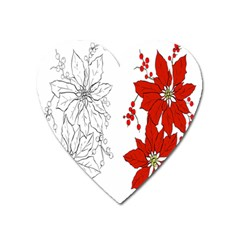 Poinsettia Flower Coloring Page Heart Magnet