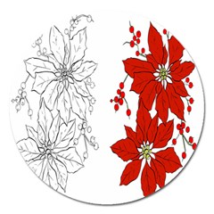 Poinsettia Flower Coloring Page Magnet 5  (round)