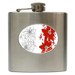 Poinsettia Flower Coloring Page Hip Flask (6 oz)