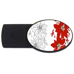 Poinsettia Flower Coloring Page Usb Flash Drive Oval (2 Gb)