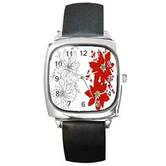 Poinsettia Flower Coloring Page Square Metal Watch