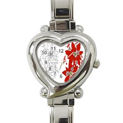 Poinsettia Flower Coloring Page Heart Italian Charm Watch