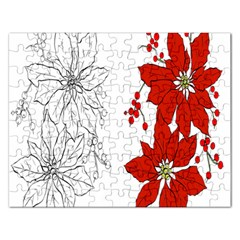 Poinsettia Flower Coloring Page Rectangular Jigsaw Puzzl
