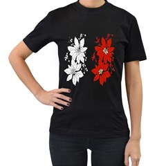 Poinsettia Flower Coloring Page Women s T-Shirt (Black) (Two Sided)