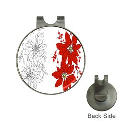 Poinsettia Flower Coloring Page Hat Clips With Golf Markers