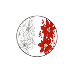 Poinsettia Flower Coloring Page Hat Clip Ball Marker
