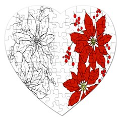 Poinsettia Flower Coloring Page Jigsaw Puzzle (Heart)