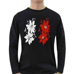 Poinsettia Flower Coloring Page Long Sleeve Dark T-Shirts