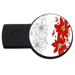 Poinsettia Flower Coloring Page Usb Flash Drive Round (4 Gb)