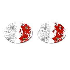 Poinsettia Flower Coloring Page Cufflinks (Oval)