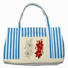 Poinsettia Flower Coloring Page Striped Blue Tote Bag