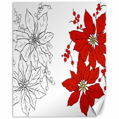 Poinsettia Flower Coloring Page Canvas 11  x 14