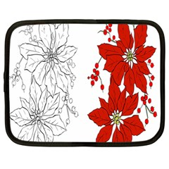 Poinsettia Flower Coloring Page Netbook Case (Large)