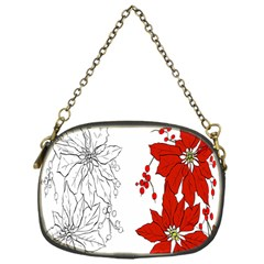 Poinsettia Flower Coloring Page Chain Purses (One Side)
