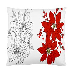 Poinsettia Flower Coloring Page Standard Cushion Case (Two Sides)