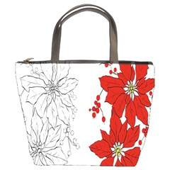 Poinsettia Flower Coloring Page Bucket Bags