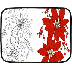 Poinsettia Flower Coloring Page Double Sided Fleece Blanket (mini)
