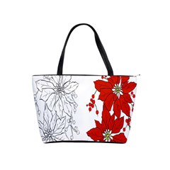 Poinsettia Flower Coloring Page Shoulder Handbags
